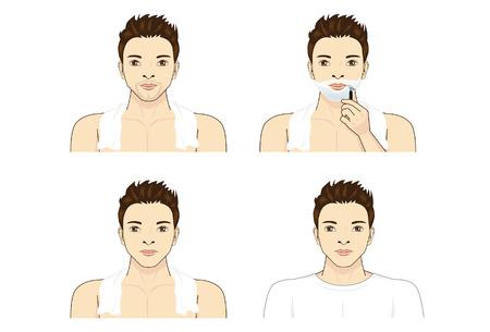 shaving: 4 step of man shaving his face over white background
