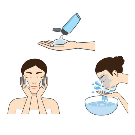 Step guide to washing face of beauty women version cartoon Vector