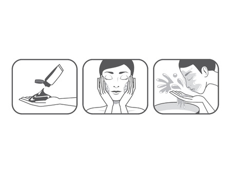 Step guide to washing face of beauty women version cartoon in gray colors Vector