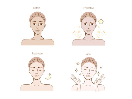 woman face cream: Sun protection to beauty skin women Illustration