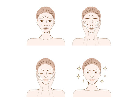 A woman illustration made facial treatment acne skin problem Vector