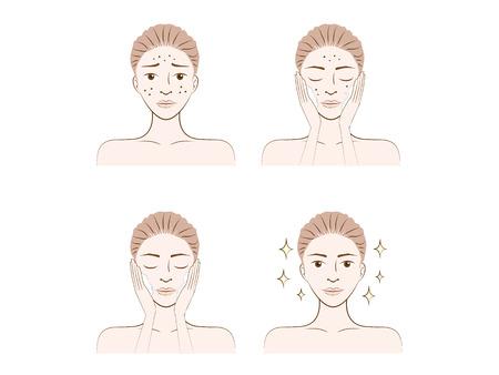 skin problem: A woman illustration made facial treatment acne skin problem