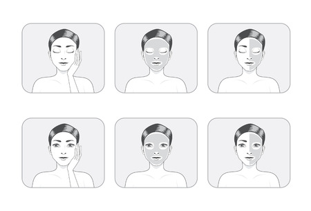 half face: A women illustration made facial mask full face and half face in gray color Illustration