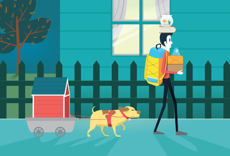 house pet: Great illustration about a man and his pet moving resident.