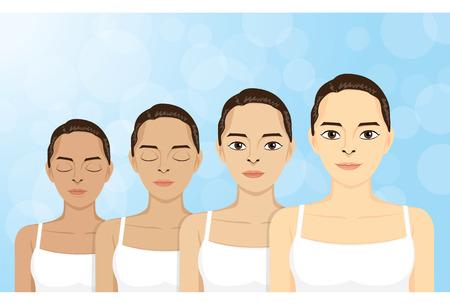 dark skin: Grandi donne illustrazione di bellezza a passo la pelle scura di pelle chiara.