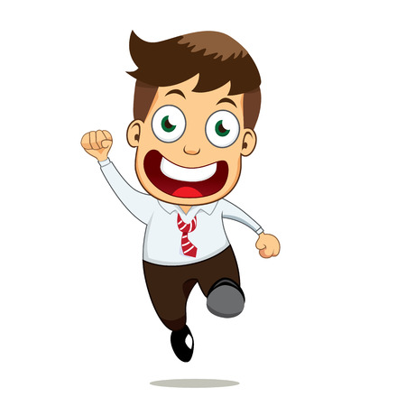 employment issues: A smiling businessman with jump. He very happy, isolated on white.