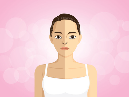 light skin: Great concept vector women half body tan skin and half body light skin.