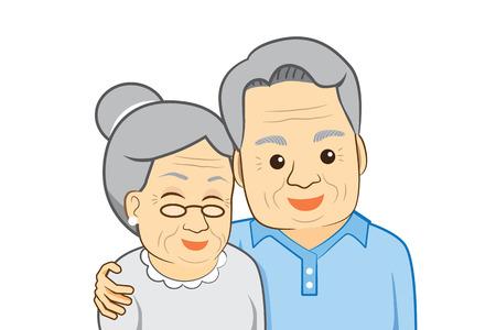 alte frau: Alter Mann Umarmung alte Frau Illustration