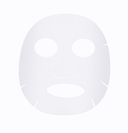 Facial sheet mask front side on white background.