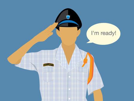 jailer: Flat design illustration of guard is ready in sleepwear Illustration