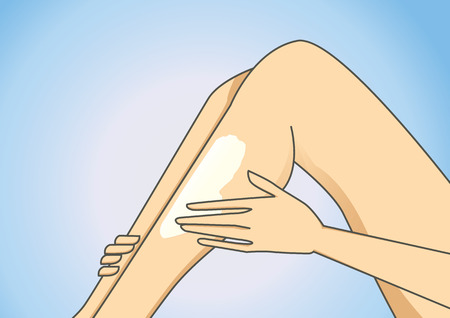 dry skin: women hand put on some body lotion to leg