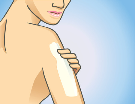 anoint: Focus shot of woman applying lotion on arm Illustration
