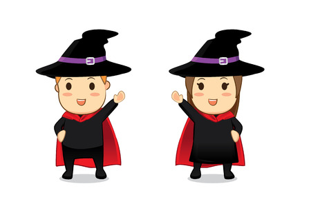 cos: Witch and Wizard cartoon in greeting action Illustration
