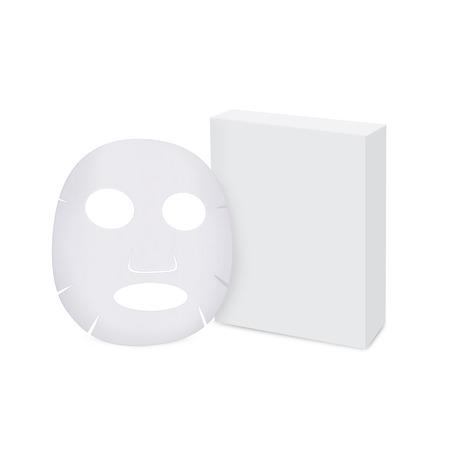 Masque facial de la feuille et la boîte isolée Banque d'images
