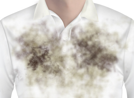 soiled: Many mud on white shirt made dirty clothing in close - up shot. Stock Photo