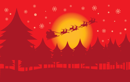 full moon effect: Santa Claus on reindeer skiing flying in the sky at night. Illustration