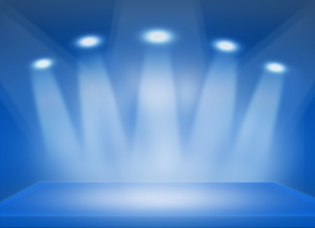 dais: Blue stage background is filled with light. Stock Photo