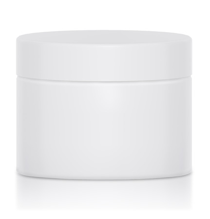 whiten: Cream jar blank a logo was a nice mock up packaging Stock Photo