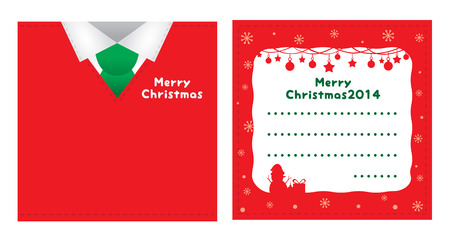 suite: Christmas card red suite design with white shirt and green necktie on front side, on back side decorated in Christmas theme.