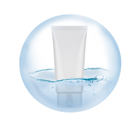 amalgamate: Blank Foam Tube in a bubble where there is water inside. Stock Photo