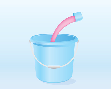 amalgamate: Pour liquid mixed with water in blue pail Illustration