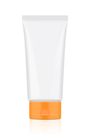 ml: White tube with orange lid over white background