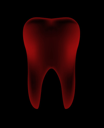 mouth pain: Illustration of Red Teeth in dark background