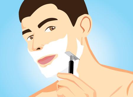 smile close up: Illustration of healthy men short hair in shaving action