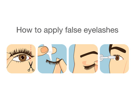 make up applying: Illustration of guide 4 step to applying false eyelash
