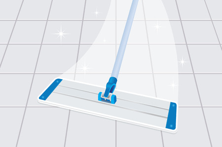 Mop cleaning dirty tiled floor to shiny