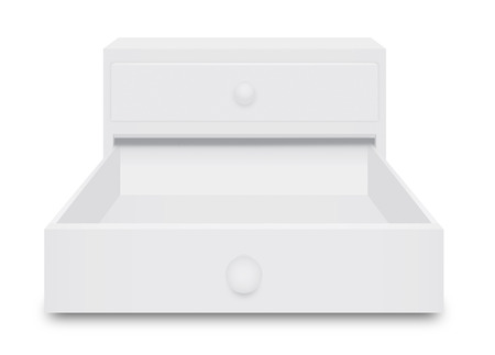 over white: Drawer Box opening 3 dimension over white  background Stock Photo
