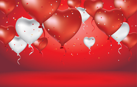 Red and White heart balloon floating in the red scene Illustration