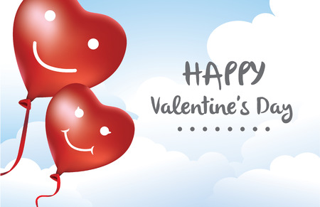 swain: Red heart balloon happiness in love in sky