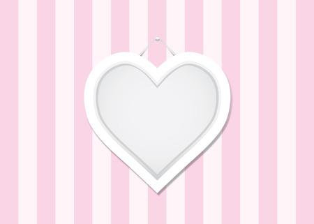 showcase interior: Telaio forma di cuore su rosa muro bianco alternato