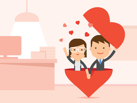 Women and Man having love in office Vektorové ilustrace