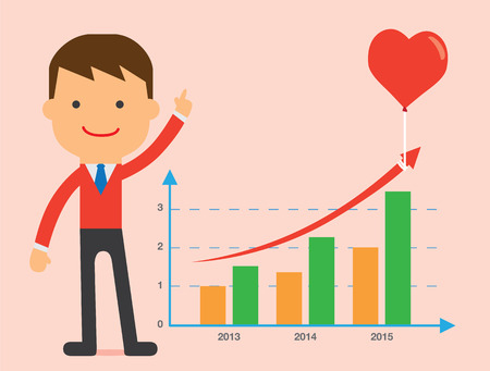 heart suite: Business man present chart of love strategy in Valentine Illustration
