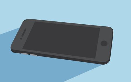 samsung galaxy: Illustration of white smart phone in flat design version on blue background Illustration