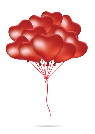 millennium: Many heart shape balloon bound together as a group in the air