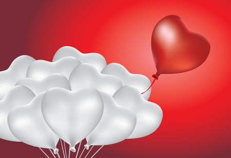 out of gas: Red heart shape balloon floating with silver balloon group