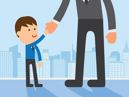 big and small: Small business man Shake hand with big man