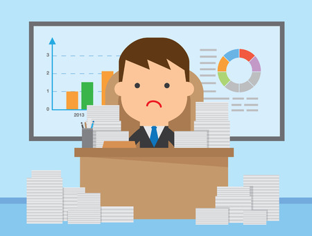 office chaos: Businessman very busy because many job around work space Illustration