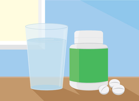 put: The medicine and water put on a table Illustration