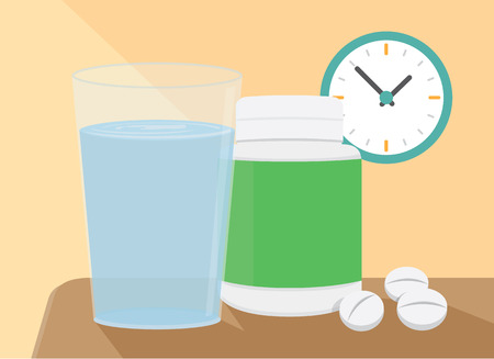 be ill: The medicine and water put on a table, which in scene have a clock