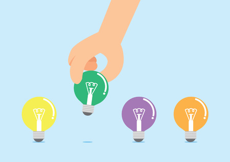 pick up: Maintenez une main pour ramasser une lampe de s�lection Illustration