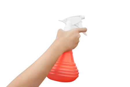 spr�hflasche: Frauen Hand mit Sprayflasche �ber wei�em Hintergrund