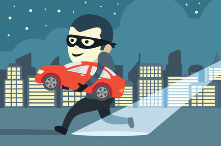 Man in mask trying to steal a car in city Illustration