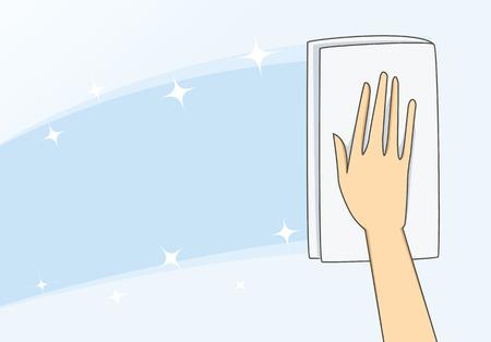 De hand van de vrouw gebruik handdoek veeg glas helder