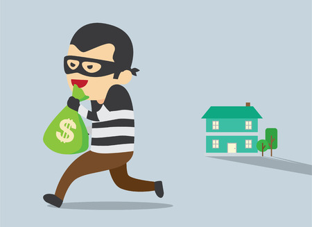 steal: Man in mask trying to steal money form house