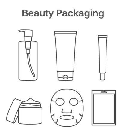 Symbol set about packaging of beauty product Illustration