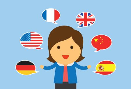 multilingual: One women can speaking multilingual in flat cartoon version